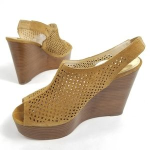 Coach chastity Wedge Peep toe perforated heels